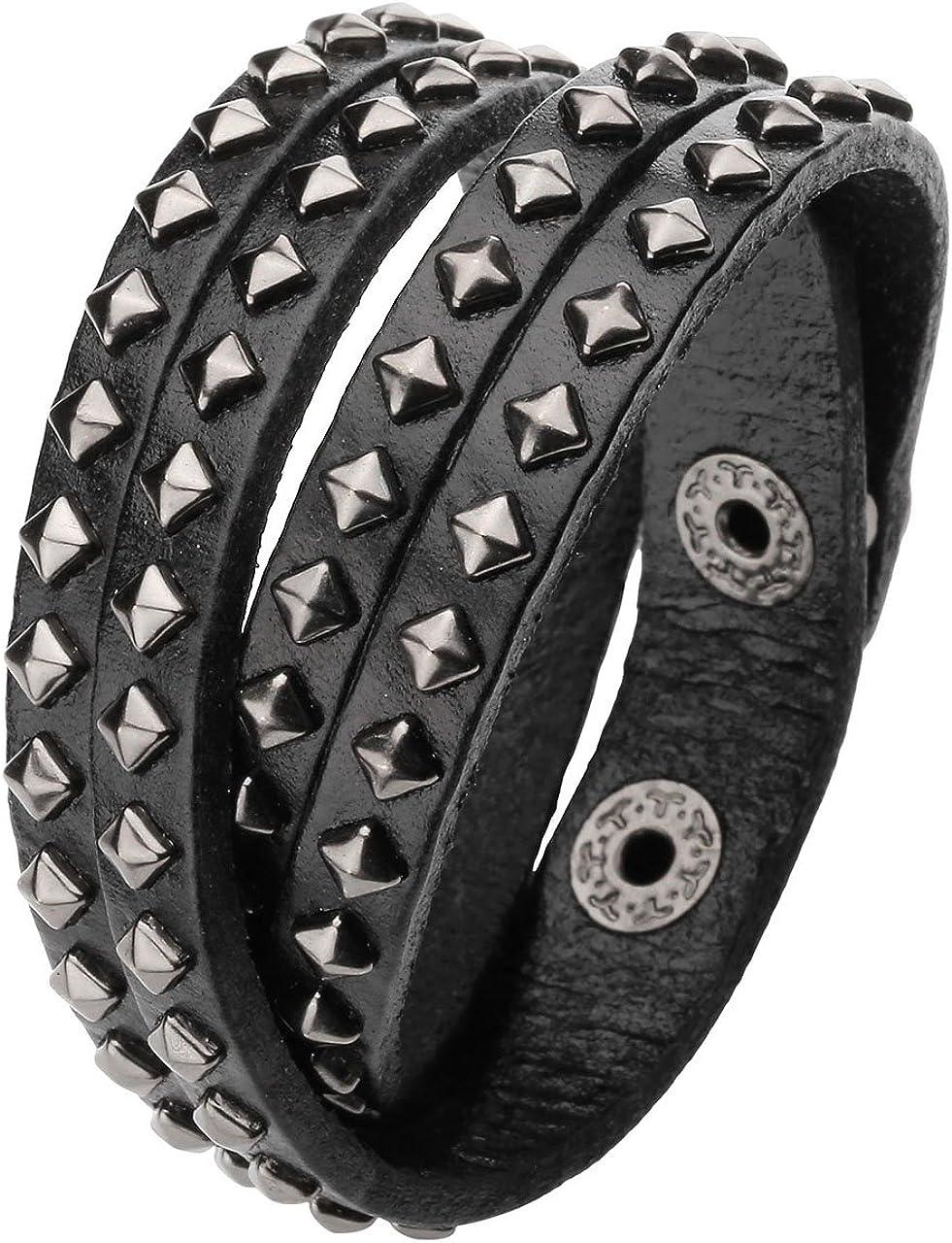 Jovivi Unisex Punk Multi Layers Rivets Strap Cuff Wrap Black Genuine Biker Leather Bracelet Wristband