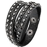 475c6665165 JOVIVI Bijoux Bracelet Réglable Leather Cuir avec Spikes Rivets Clous Cône  Circonférence de Bras Large Lien