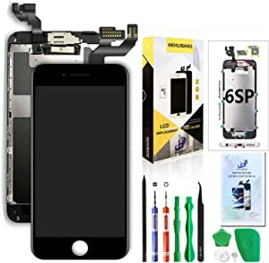 Compatible with iPhone 6S Plus Screen Replacement Black 5.5'',Hkhuibang Pre-Assembled LCD Display 3D Touch Digitizer Full Assembly with OEM Front Camera Proximity Sensor Ear Speaker+Repair Tool