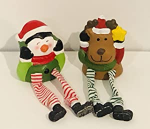 JR 2-pc. Christmas Mantle Decor Shelf Sitter Dangle Leg Character Bundle with Christmas PN