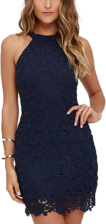Womens Backless Halter Dress Sleeveless Wedding Halter Lace Cocktail Dress Black,S