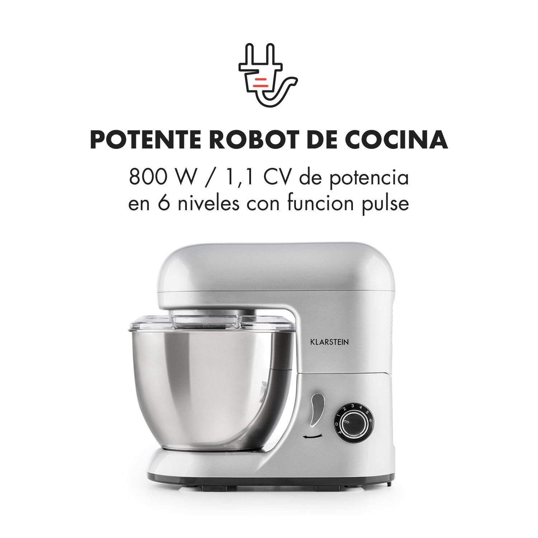 Klarstein Bella Pico Mini - Robot de cocina , Batidor , Amasador , 550 W Nominal , 800 W Pico Máx , 6 niveles , 4 Litros , Brazo multifunción , ...