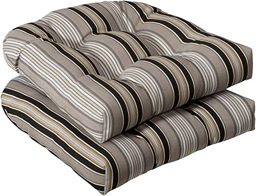 Pillow Perfect Outdoor Indoor Getaway Stripe Onyx Tufted Seat Cushions Round Back , 19 x 19 , Black, 2 Pack