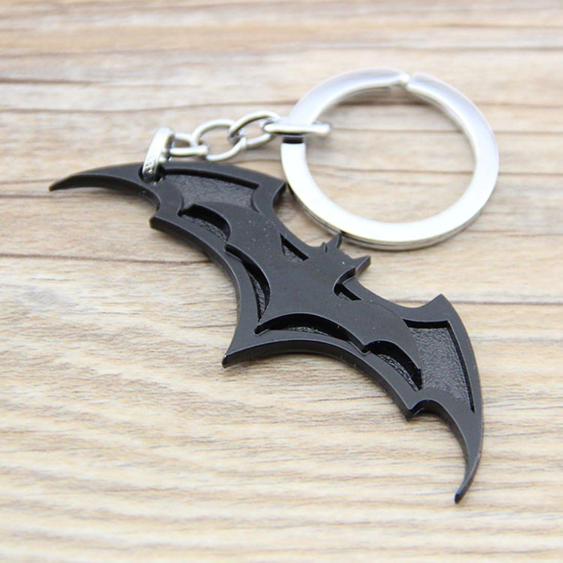 Cool Bat Symbol Key Chain Zinc Alloy Keychain Bat Shape Metal Key Ring Tag for Your Autos, Home or Boat (Black)