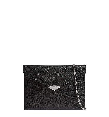 67693d75c516 Michael Kors Barbara Large Black Leather Envelope Clutch Bag Black Leather