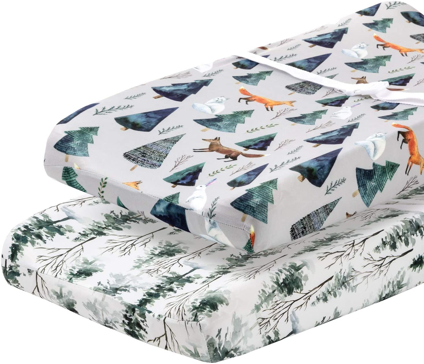 Magical Ultra-Soft Cotton Blend Safe and Snug for Baby Pobi Baby Stylish Animal Woodland Pattern 2 Pack Premium Bassinet Sheets for Standard Bassinets