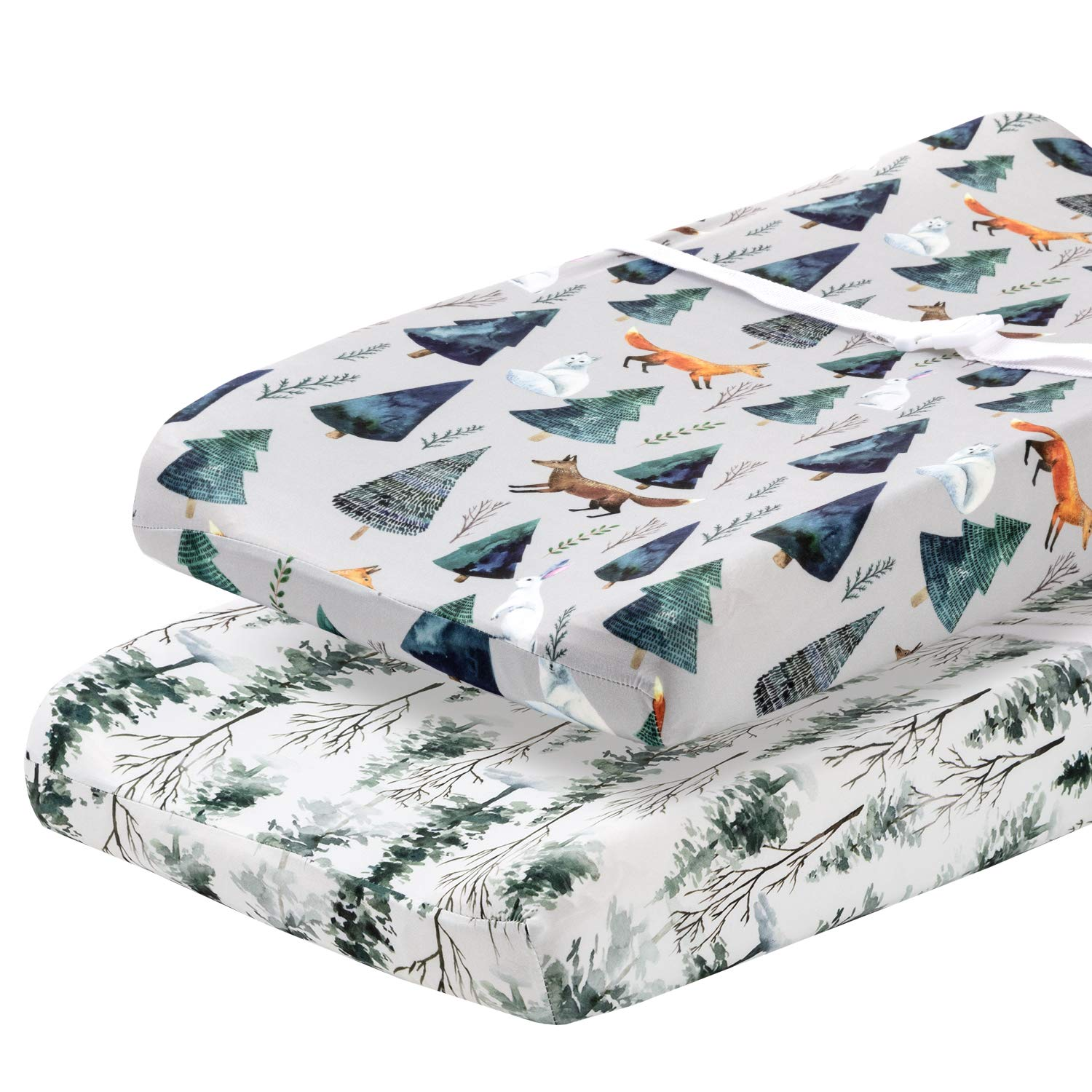 Pobi Baby - 2 Pack Premium Quality Changing Pad Cover - Ultra-Soft Cotton Blend, Stylish Animal Woodland Pattern, Safe and Snug for Baby (Magical)