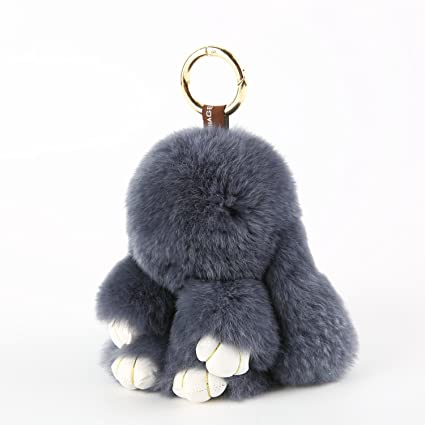 YISEVEN Stuffed Bunny Keychain Toy - Soft and Fuzzy Large Stitch Plush  Rabbit Fur Key Chain - Cute Fluffy Bunnies Floppy Furry Animal Doll Gift  for Girl ... 1580b612e942