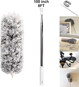 """AINAAN 33""""-100"""" Ceiling Fan with Stainless Steel extension Long Extendable Pole Washable Bendable for Cleaning, High Cobweb Wall Dusting Wet, Interior Roof"""