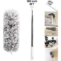 Ainaan plumero de microfibra 83.82 cm - 254.00 cm ventilador de techo con extensión de acero inoxidable, tubo largo extensible, lavable, doblable para limpieza, para desempolvar en húmedo con alta tela de cobweb, para techo interior