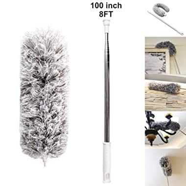 AINAAN Microfiber Duster 33  - 100  Ceiling Fan with with Stainless Steel extension Long Extendable Pole Washable Bendable for Cleaning, High Cobweb Wall Dusting Wet, Interior Roof