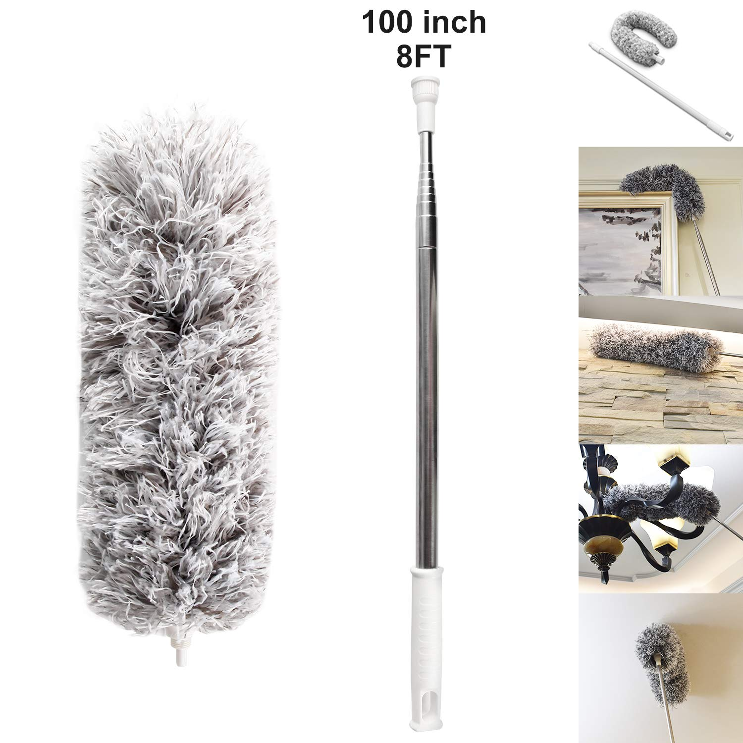 Yafook Microfiber Duster 100'' Ceiling Fan with with Stainless Steel Extension Long Extendable Pole Washable Bendable for Cleaning, High Cobweb Wall Dusting Wet, Interior Roof