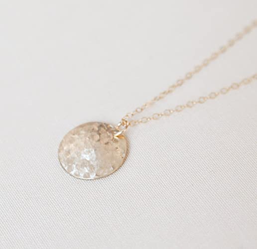 e3ee76d8efe97b Amazon.com: Hammered Gold Disc Necklace - Delicate Hammered Circle ...