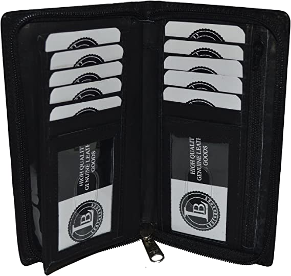Genuine Leather Checkbook Cover Zippered Black