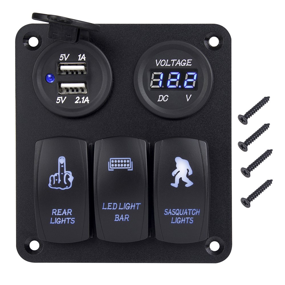 Rocker Switch Panel Autopowerplus Dc 12v 24v 3 Gang On Light Wiring Game Off Toggle Waterproof Digital Voltmeter Dual Usb Power Charger Blue Led