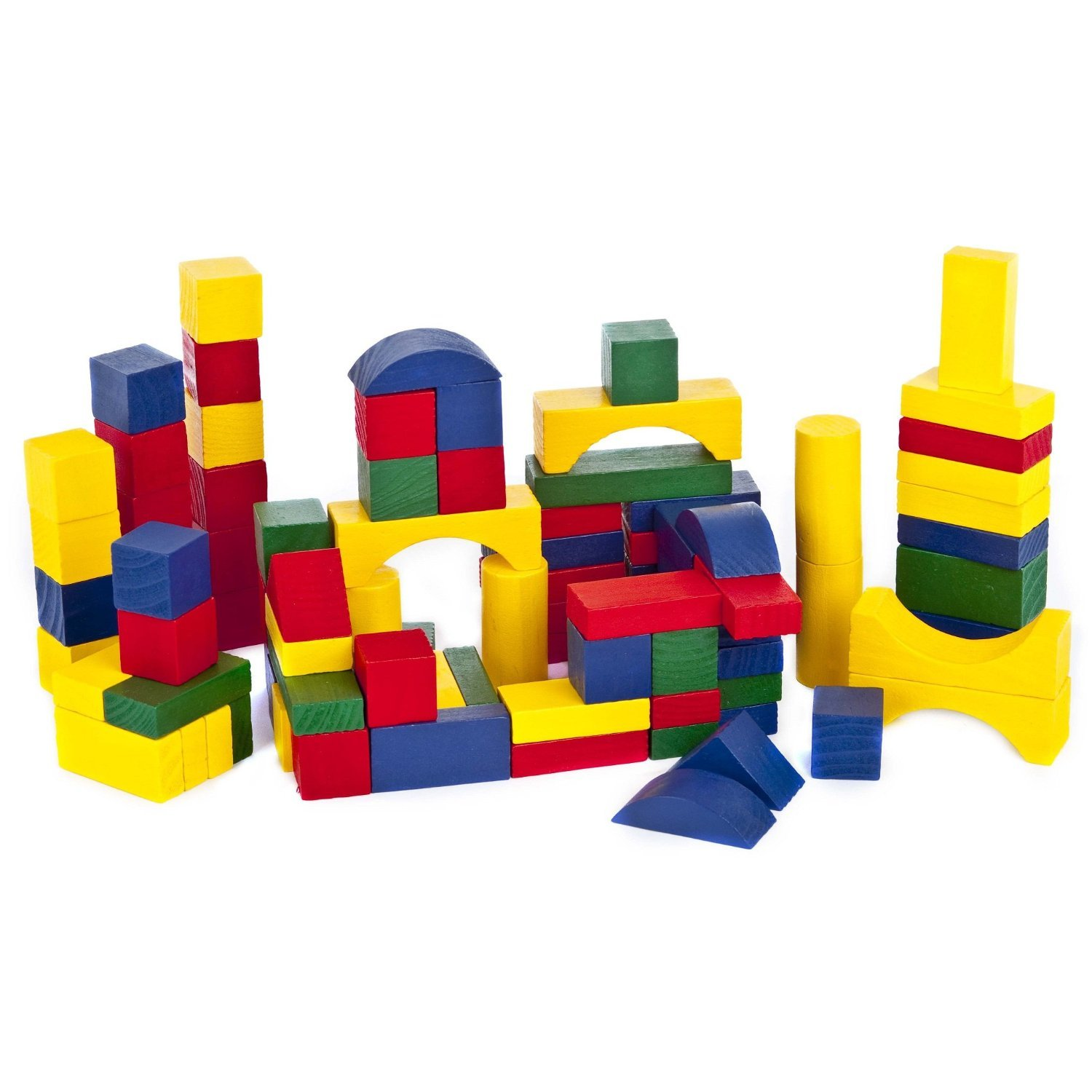 Set of 100 Coloured Wooden Building Blocks Bricks Shape Sorter Tub