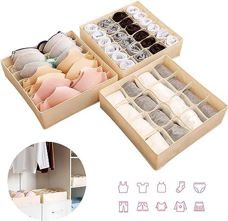 organizzatori per biancheria intima pieghevole per cassetti 2/confezioni scatole per riporre calzini Joyoldelf/- Scatola a scomparti reggiseni 24/scompartimenti fazzoletti