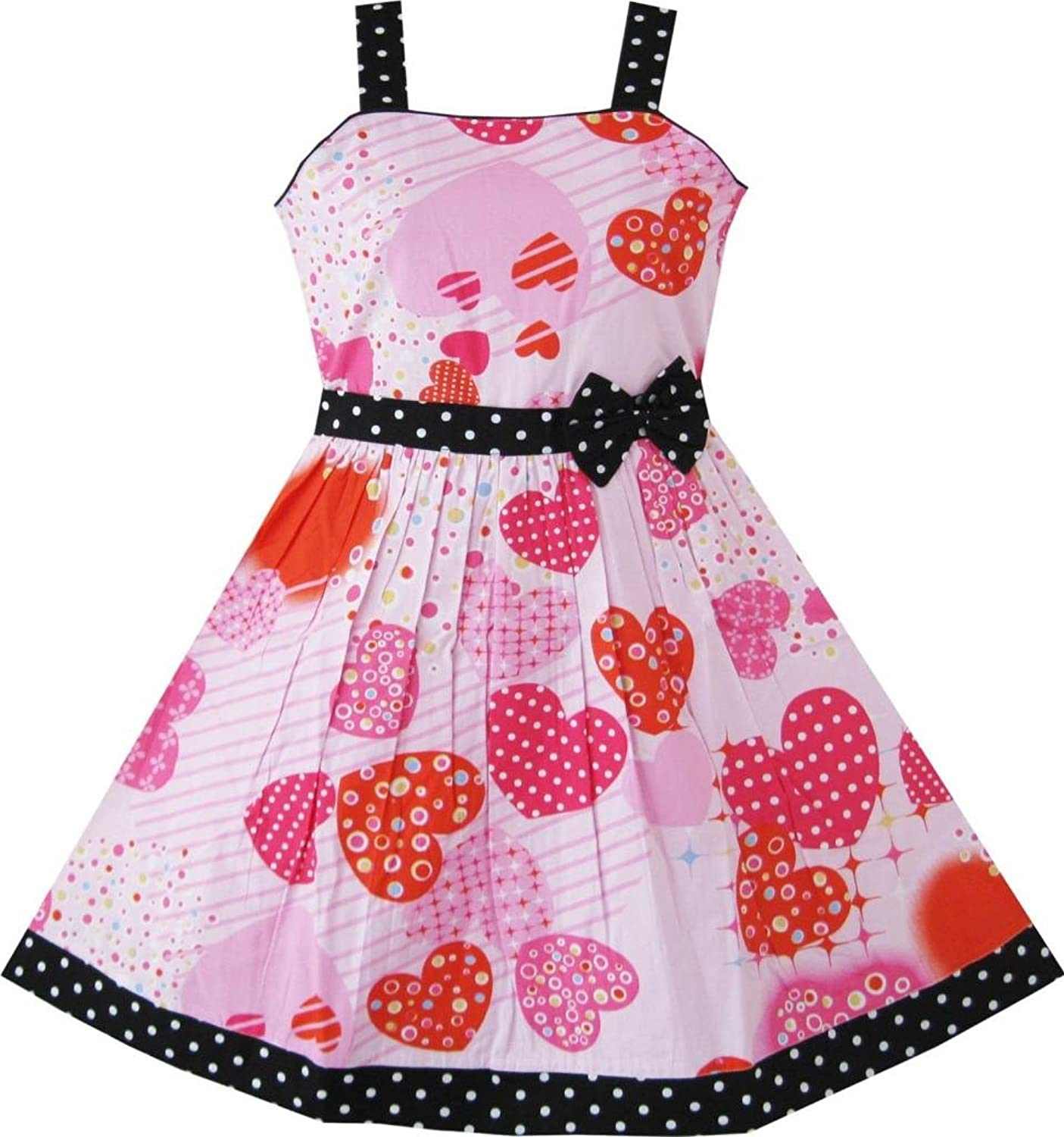 Girls Pink Heart Print Bow Tie Party Sundress Kids Clothes Sz 4-12
