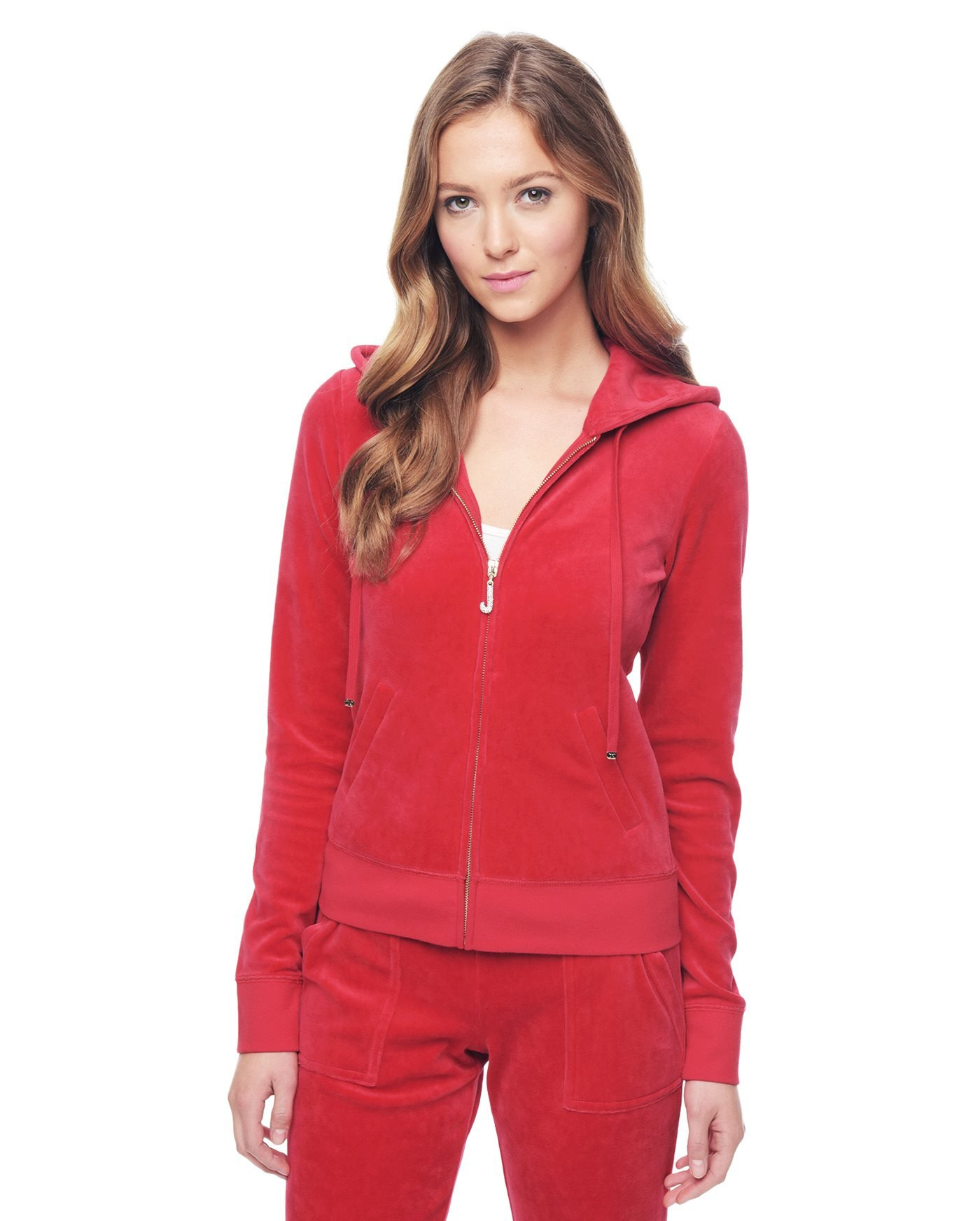 Juicy Couture Women's J Bling Hoodie (X-Large, Poppy)