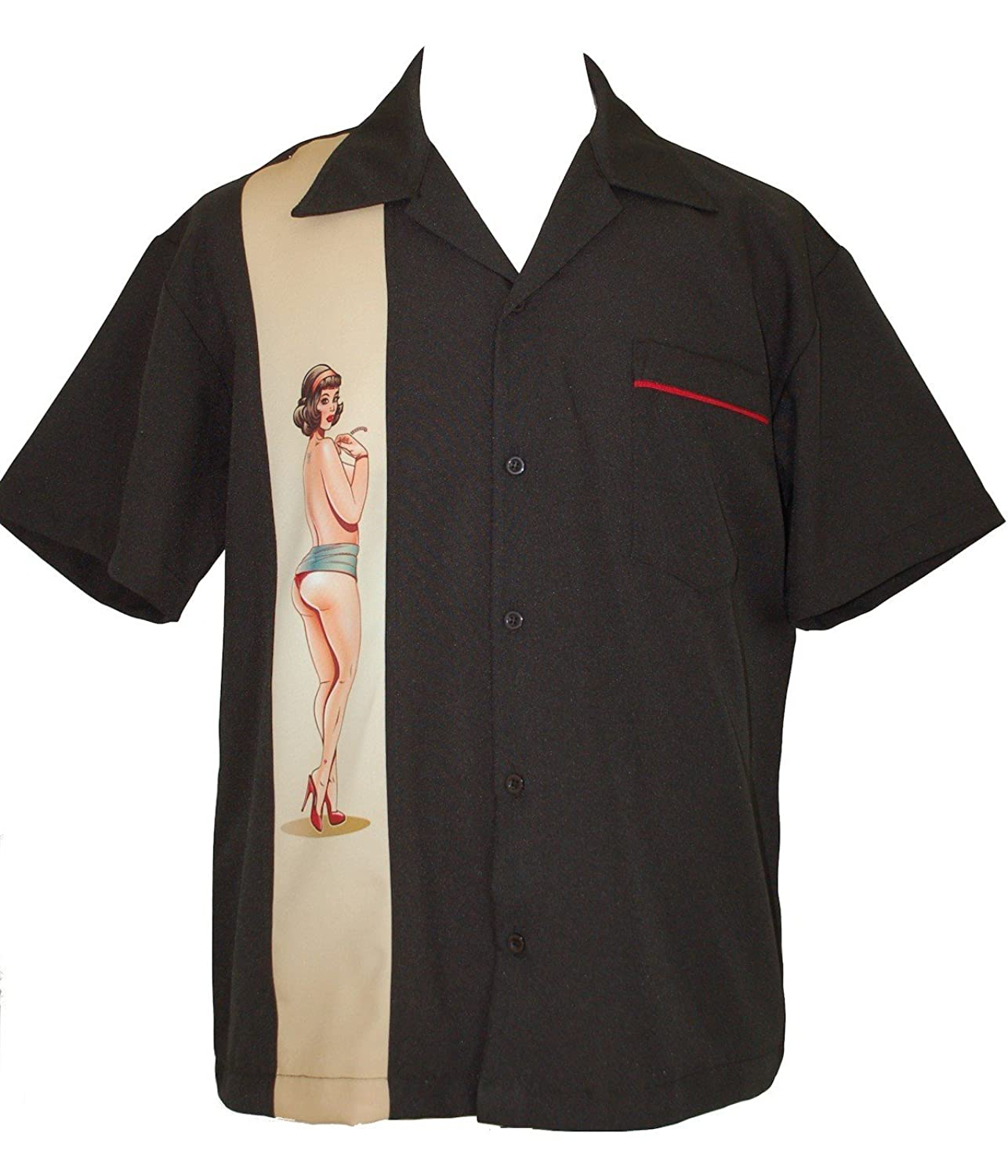 1950s Men's Costumes: Greaser, Elvis, Rockabilly, Prom PinUp Girl Mens Bowling Lounge Retro Shirt ~ BeRetro Classy PinUp Girl $65.95 AT vintagedancer.com