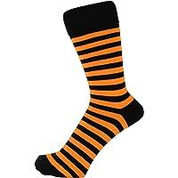 ZAKIRA Finest Combed Cotton Striped Dress Socks for Men, Women