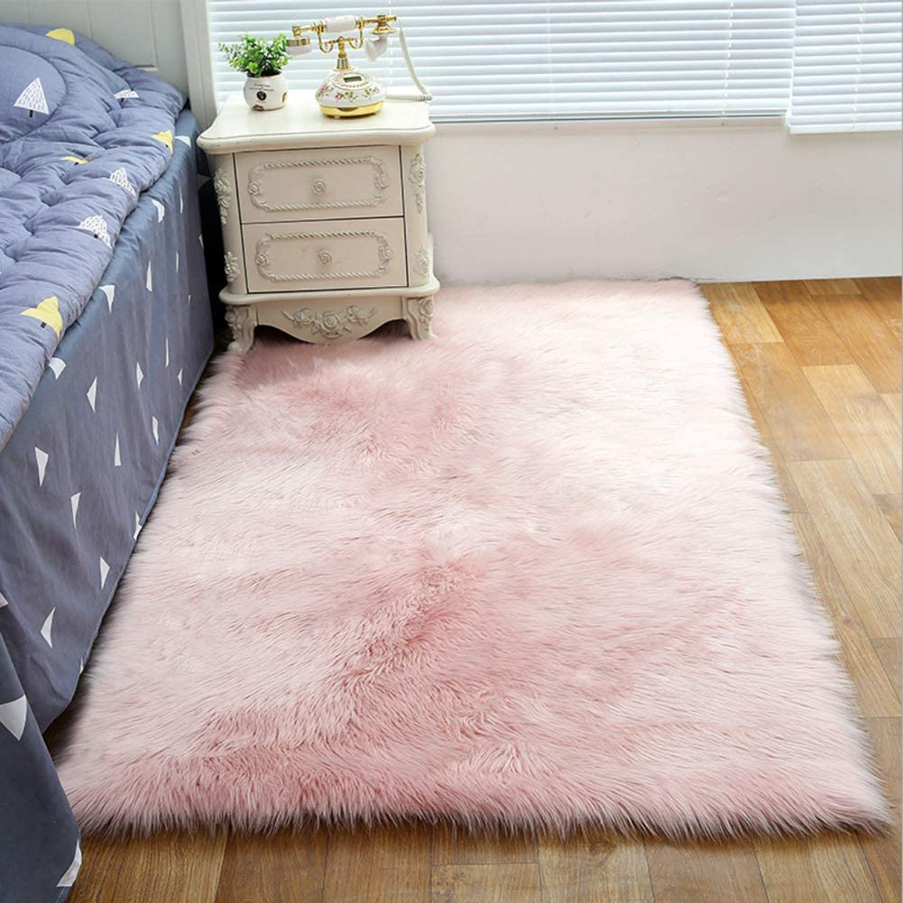 Faux Sheepskin Rug Rectangular Fur Faux Fleece Fluffy Area Rugs Anti Skid Yoga Carpet For Living Room Bedroom Sofa Floor Rugs Pink 19 7 X 59 Inch Amazon Co Uk Kitchen Home