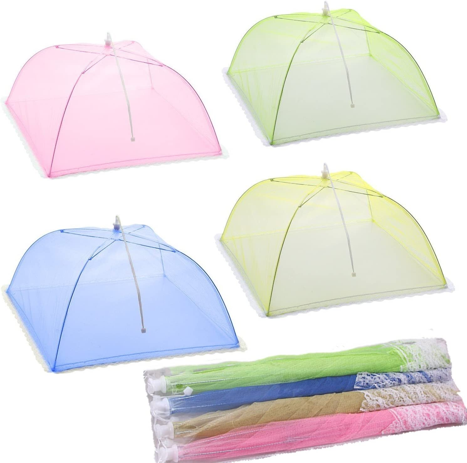 Mesh Screen Food Cover Tents, 4 Pack Umbrella Screens to Keep Bugs and Flies Away From Food at Picnics, BBQ & More