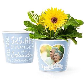 Facepot Diamantene Hochzeit Blumentopf ø16cm Deko Geschenk Zum