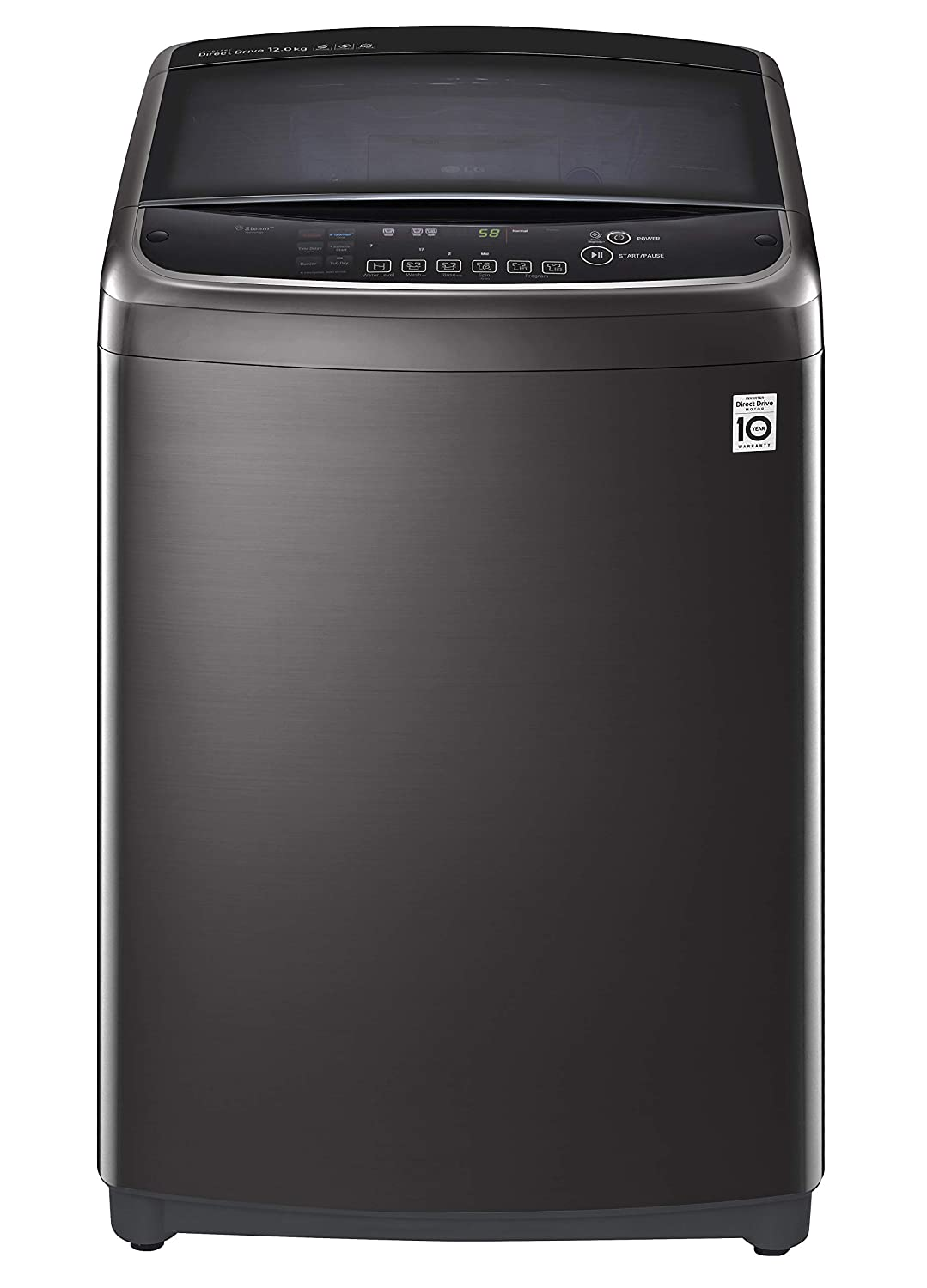 LG 12.0 Kg Inverter Wi-Fi Fully-Automatic Top Loading Washing Machine (THD12STB, Black Stainless Steel)