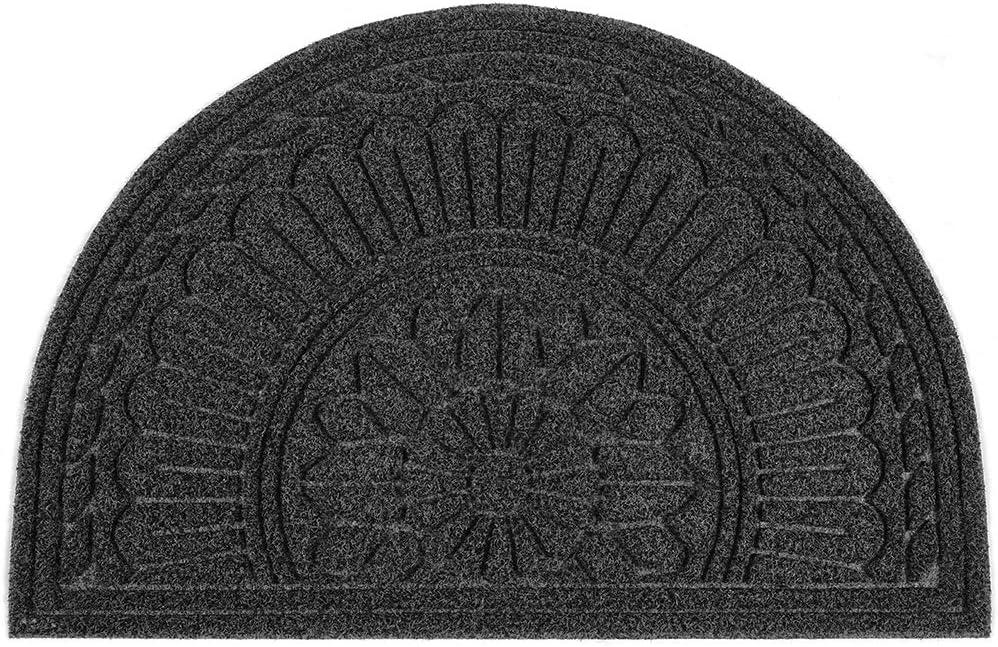 MIBAO Half Round Doormat, 24 x 36 Non Slip Durable Welcome Door Mats, Boots Scraper Mats Indoor Outdoor Rug, Low-Profile Semicircle Door Mats for Entry, Garage, Patio, Heavy Duty, Easy Clean, Black