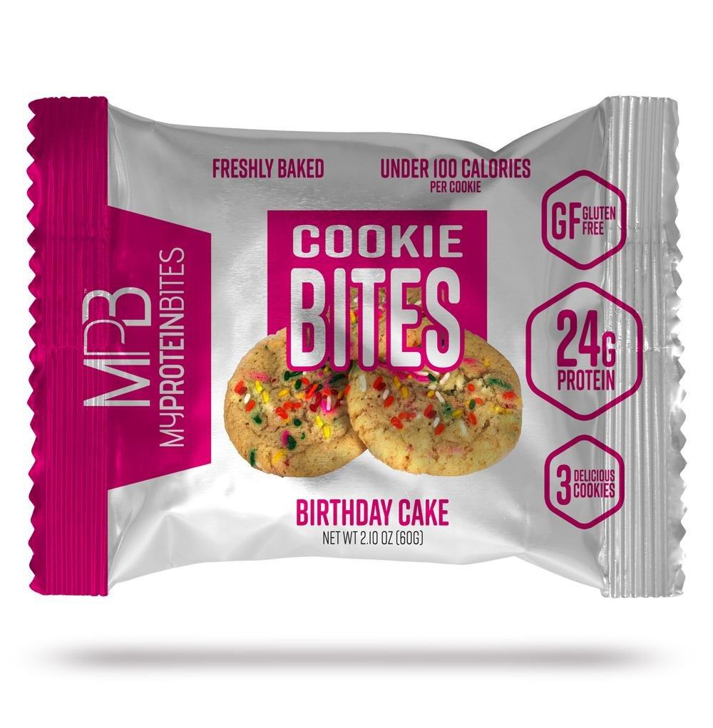 My Protein Bites | Protein Cookies | 24 Grams of Protein, Low Carbs & Low Sugar | Gluten Free | (8 Packs of 3 Cookies (24 Cookies) Birthday Cake)