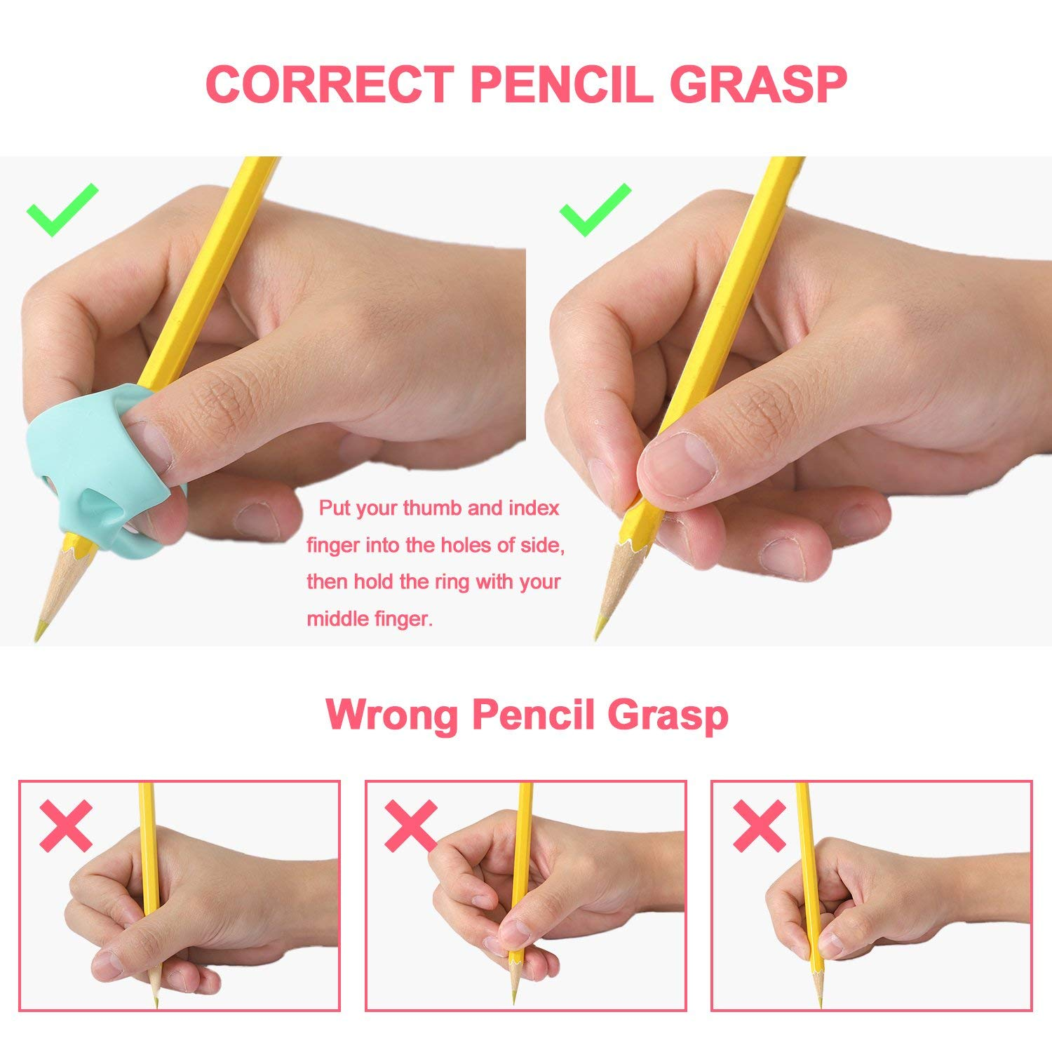 4 Packs Pencil Grips For Kids Child Handwriting Aid Grip Trainer Posture Correction Finger Grip For Kids Arthritis Designed For Righties Or Lefties Pencil Grips Adults