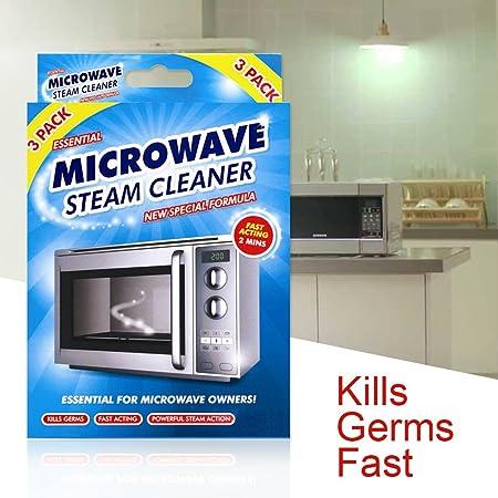 Limpiador de microondas a vapor de rápida acción, paquete de 3 ...