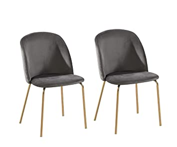 Super Set Of 2 Velvet Dining Chairs With Golden Finish Metal Legs Living Room Chair Dale Grey Download Free Architecture Designs Rallybritishbridgeorg