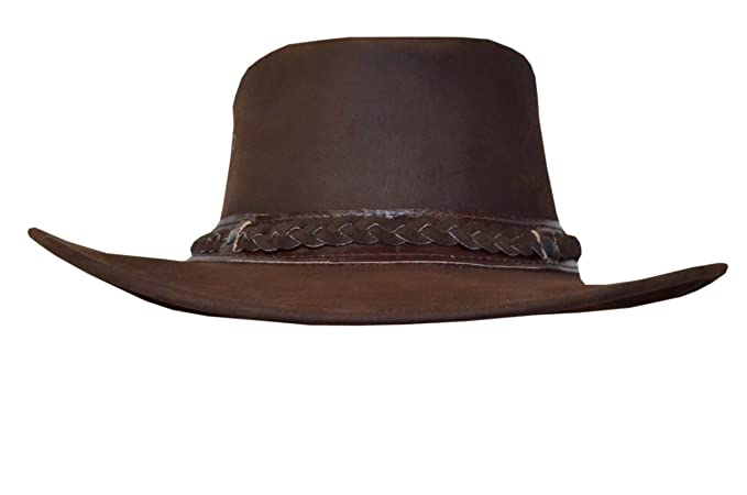 5f54588142f Mens Women Cowboy Light Brown Aussie Style Western Bush Real Leather Hat (S)