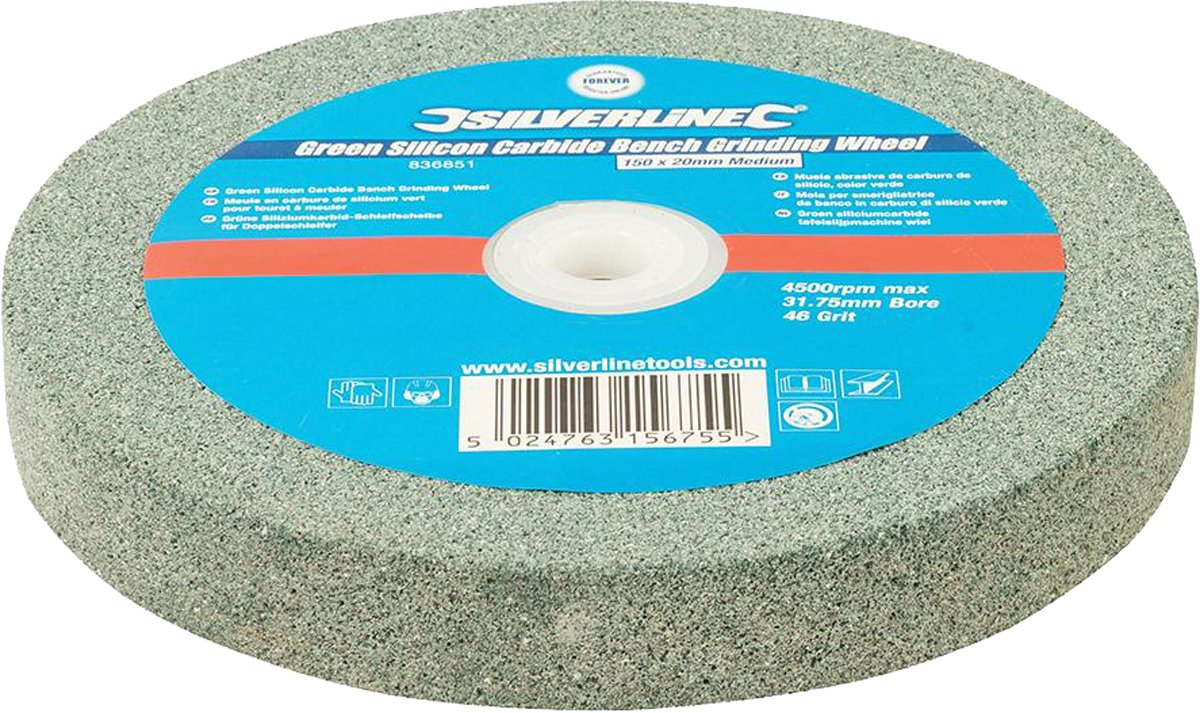 Silverline Green Silicon Carbide Bench Grinding Wheel 150 X 20mm With Pen Toolstream