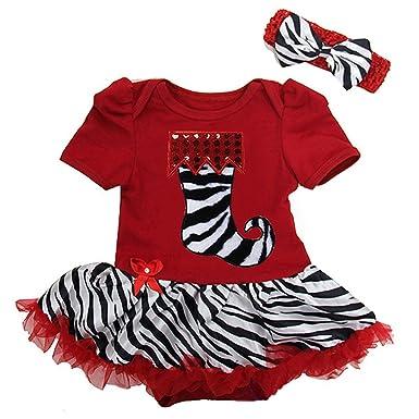 Kirei Sui bebé calcetines de Navidad de cebra rojo de cebra body de tutú y diadema Rojo rosso S: Amazon.es: Ropa y accesorios