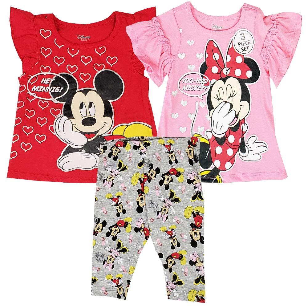 Minnie Mouse Disney Girls 3-Piece Set Hey Minnie 2 Shirts//Top /& Leggings Size 4-6X