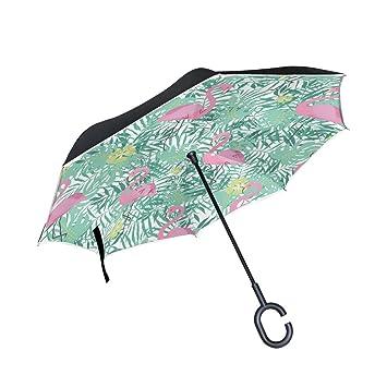 COOSUN - Paraguas invertido de doble capa con flamenco rosa y hojas de palma, para