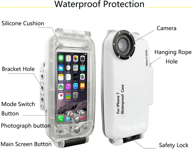 Cassa impermeabile Custodia subacquea per il iPhone 7S IPX8 impermeabile 40M Diving Case da AIGUMI(nero)