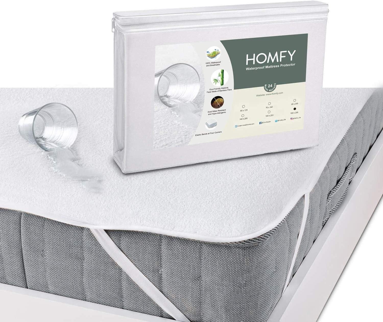 Drap Housse Anti-Acarien Hypo-Allerg/énique HOMFY Prot/ège Matelas Imperm/éable 90x190 //200cm Al/èse Respirante Eco Bambou Fibre