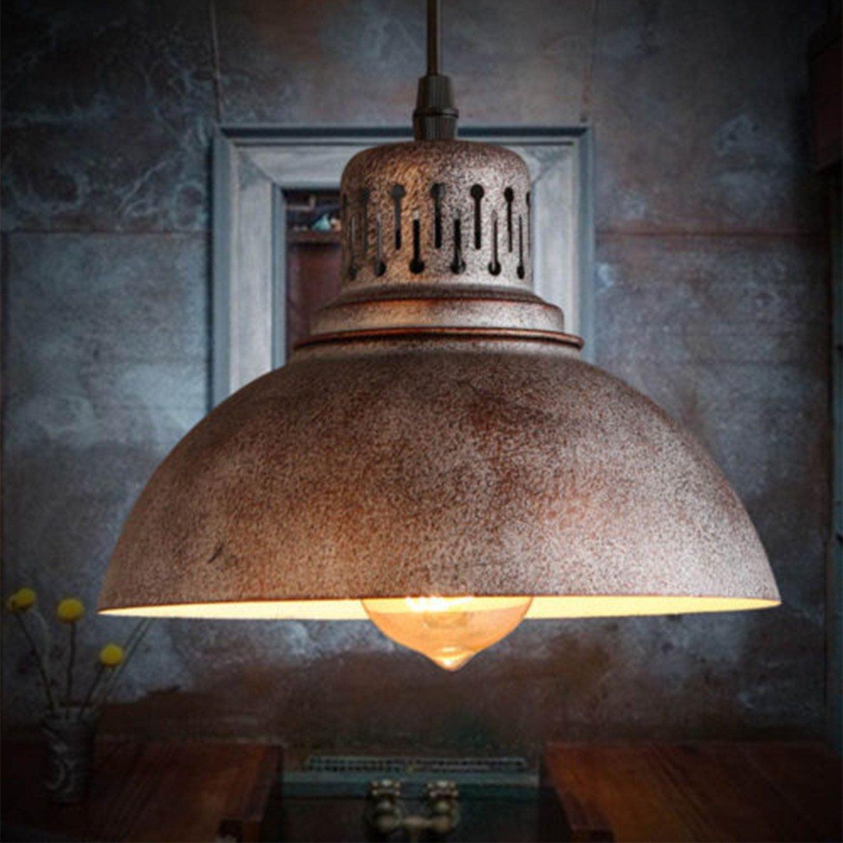 KING DO WAY industriellen Stil Vintage Loft Kronleuchter,Retro-DIY Dekoration-Lampe E27 Fassungen(ohne Leuchtmittel),Durchmesser 22cm,AC220V,Außen Rostfarbe