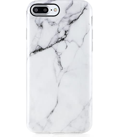 timeless design e822d 4cac5 iPhone 7 Plus Case Marble, iPhone 8 Plus Case,VIVIBIN Cute White Marble for  Men Women Girls,Clear Bumper Soft Silicone Rubber Matte TPU Best ...