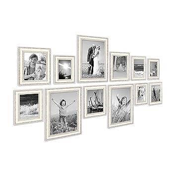 PHOTOLINI 12er Set Bilderrahmen Shabby Chic Landhaus Stil Weiss 10x15 Bis  20x30 Cm