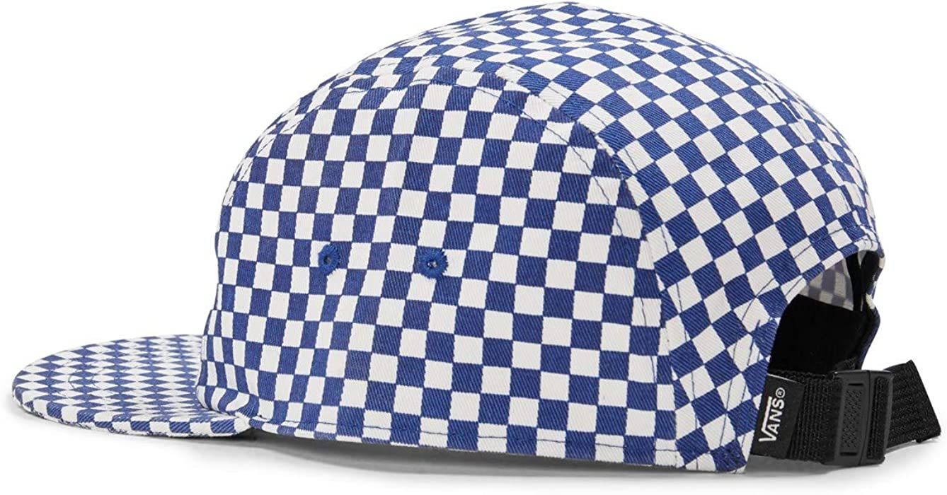 21f59c780d45b Vans Off The Wall Men's Davis 5 Panel Camper Hat Cap, Blue/White Checkered.  Back. Double-tap to zoom