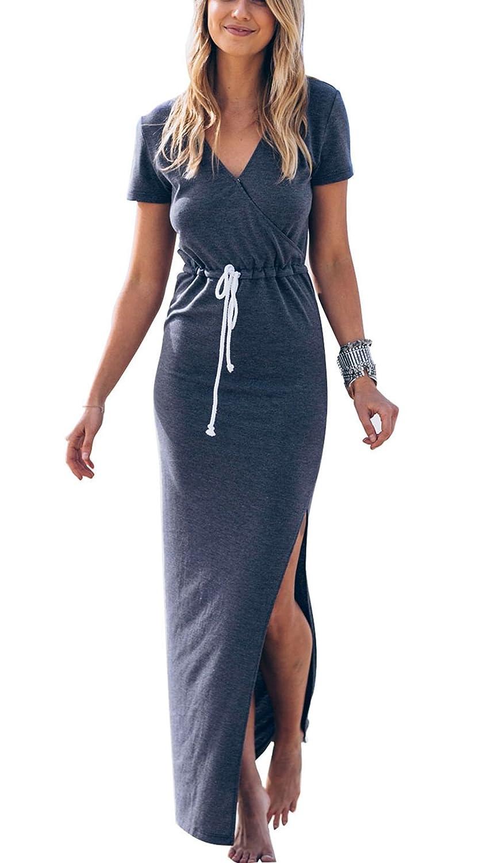 db2bb6cfec6 Amazon.com  Women Sexy Cute Long Dress Maxi Summer Beach Casual Dresses  2018 Sundress  Clothing