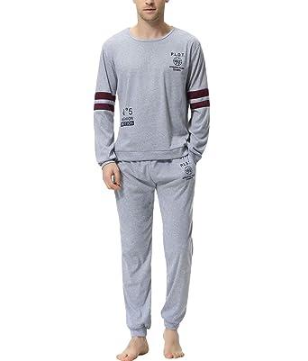 6c255833473b94 Aiboria Herren Schlafanzug Pyjama Lang Freizeithosen Jerseyhose  Schlafanzughose Set Pant Zweiteiliger Anzug Baumwolle Nachtwäsche