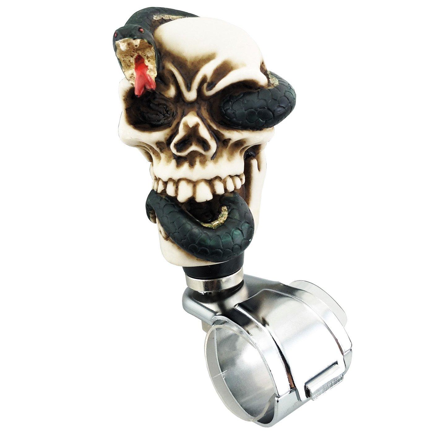 Gold Lensuntom LUNSOM Cool Steering Wheel Knob Removable Easy Rider Spinner Knob White Skull Universal Power Suicide Handle Quick Release Snake
