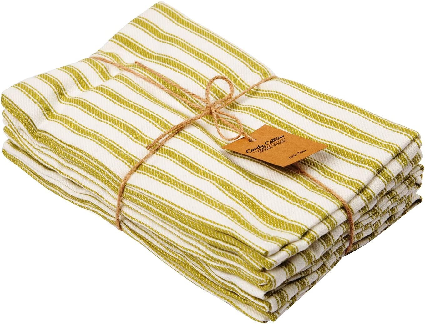 Amazon Com Candy Cottons 100 Pure Cotton Dinner Napkins Olive White French Stripes Pack Of 6 18 X18 Dinner Table Napkins Soft Comfortable Reusable Napkins For Home Weddings Cocktail Parties