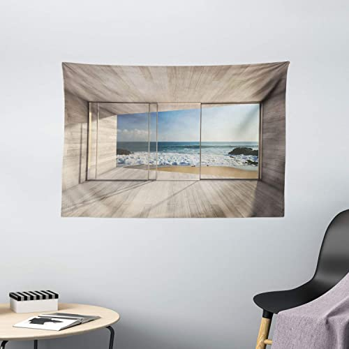 Ambesonne Modern Tapestry, Empty Modern Lounge Area with Large Window and View of Sea Waves Rocks Art, Wide Wall Hanging for Bedroom Living Room Dorm, 60 X 40 , Tan Blue